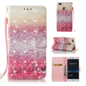 Patterned Light Spot Decor Leather Wallet Foldable Cover for Huawei P9 Lite/G9 Lite - Sequins and Smile