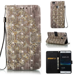 For Huawei P9 Lite/G9 Lite Patterned Light Spot Decor Foldable Leather Wallet Case Cover - Symmetrical Gold Flower