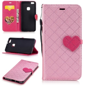 Love Heart Contrasting Color Leather Wallet Flip Case with Strap for Huawei P10 Lite - Pink