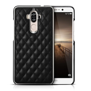 For Huawei Mate 9 XOOMZ Grid Pattern Leather Coated Plastic Mobile Back Cover - Black