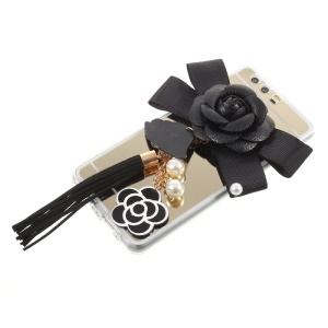 Mirror-like Plated PC TPU Combo Case for Huawei P10 Plus - 3D Black Flower and Tassel Pendant