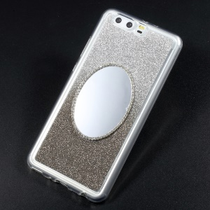 Gradient Color Bling Flash Powder Diamonte Mirror TPU Phone Case for Huawei P10 - Grey