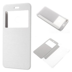 View Window PU Leather Flip Shell Cover for Huawei P8 Lite (2017) / Honor 8 Lite - White
