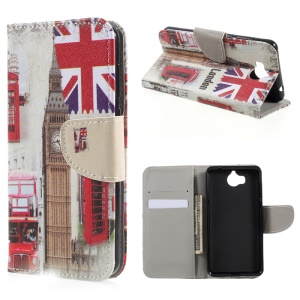Printing Pattern Leather Wallet Phone Case for Huawei Y5 (2017) - London Elements