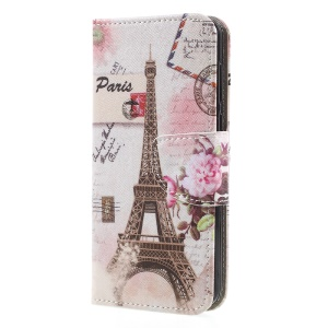Pattern Printing Leather Wallet Phone Shell with Stand for Huawei Y5 (2017) / Y6 (2017) - Postcard Style Eiffel Tower