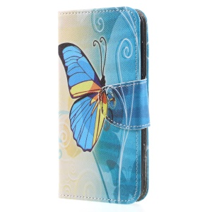 Printing Pattern Leather Wallet Stand Mobile Casing for Huawei Y5 (2017) - Beautiful Butterfly
