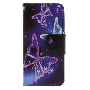 Printing Pattern Wallet Stand Leather Cell Phone Case for Huawei Y5 (2017) - Shiny Butterflies