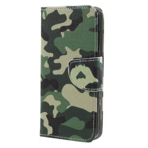 Printing Pattern Card Holder Leather Protection Case Shell for Huawei Y5 (2017) / Y6 (2017) -  Camouflage Pattern