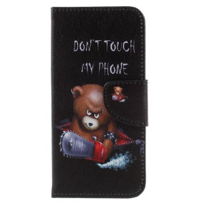 Printing Pattern PU Leather Wallet Stand Phone Casing for Huawei Y5 (2017) / Y6 (2017) - Cool Bear and Warnings