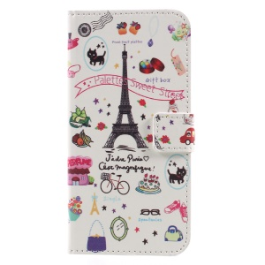 Printing Pattern Card Slots Leather Flip Mobile Cover for Huawei Y5 (2017) - Palettes Sweet Street
