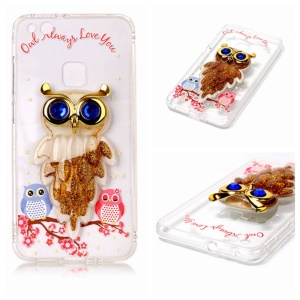 Patterned Lovely Owls Quicksand Rhinestone TPU + Acrylic Mobile Case for Huawei P10 Lite - Gold