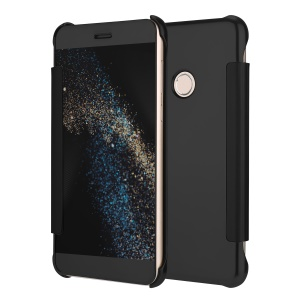 Plating Mirror Surface PC Leather Smart Cell Phone Case for Huawei P8 Lite (2017) - Black