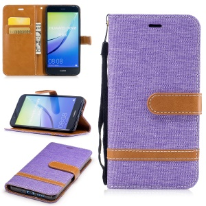 Bi-color Jean Cloth Wallet Leather Stand Mobile Case Cover for Huawei P10 Lite - Purple