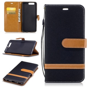 Bi-color Jean Cloth Wallet Leather Stand Cell Phone Case for Huawei P10 Plus - Black