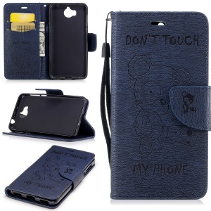 Imprinted Bear PU Leather Stand Case for Huawei Y5 (2017) / Y6 (2017) - Dark Blue