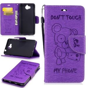 Imprinted Bear Wallet Leather Case with Stand for Huawei Y5 (2017) / Y6 (2017) - Purple