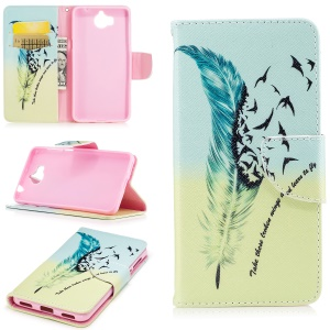 Pattern Printing Wallet Leather Stand Case for Huawei Y5 (2017) - Feather Pattern