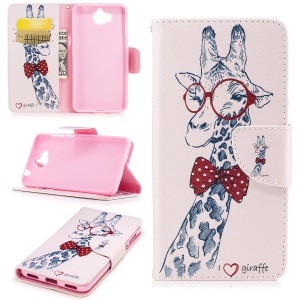 Pattern Printing Wallet Leather Stand Cover for Huawei Y5 (2017) - Adorable Giraffe Wearing Glasses
