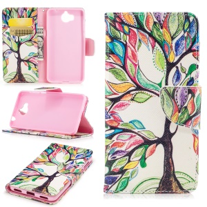 Pattern Printing Wallet Leather Cell Phone Case for Huawei Y5 (2017) - Colorized Tree
