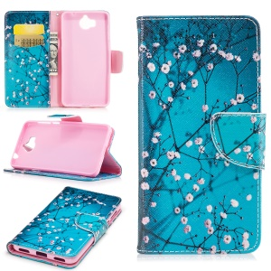 Pattern Printing PU Leather Stand Case for Huawei Y5 (2017) - Tree with Flowers
