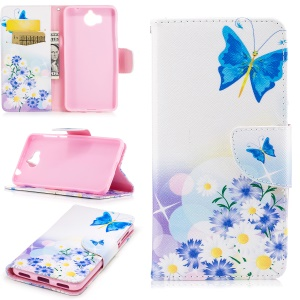 Pattern Printing Wallet Leather Protection Case for Huawei Y5 (2017) - Blue Butterfly