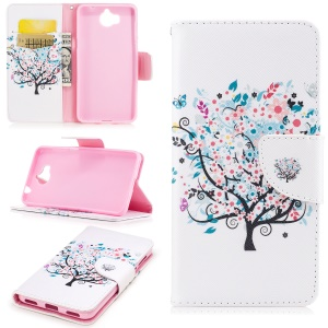 Pattern Printing Wallet Leather Case with Stand for Huawei Y5 (2017) - Flowered Tree