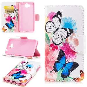 Pattern Printing Wallet Leather Protective Case for Huawei Y5 (2017) - Butterfly and Flowers