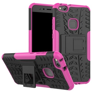 Cool Tyre Pattern Kickstand PC TPU Hybrid Protective Shell for Huawei P10 Lite - Rose