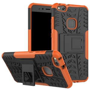Cool Tyre Pattern Kickstand PC TPU  Hybrid Protective Cover for Huawei P10 Lite - Orange