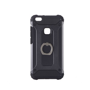 For Huawei P10 Lite Armor Guard TPU + PC Hybrid Back Case with Finger Ring Holder - Black