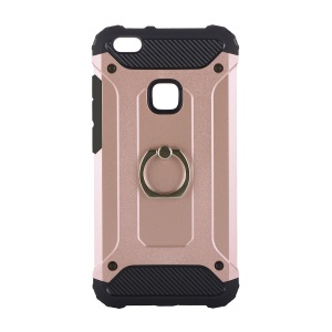 For Huawei P10 Lite Armor Guard TPU + PC Hybrid Mobile Shell with Finger Ring Holder - Rose Gold