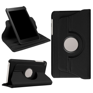 Litchi Leather Skin Folio Cover with Rotary Stand for Huawei MediaPad T2 7.0 - Black