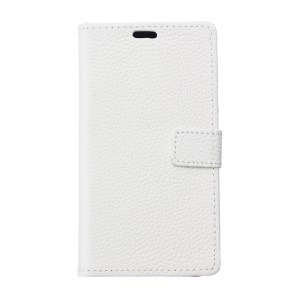 Litchi Skin Genuine Leather Wallet Phone Case Accessory with Stand for Huawei Y3 (2017) - White