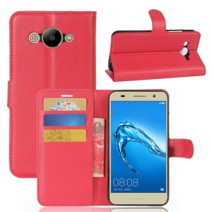 Lychee Skin Magnetic Leather Stand Case for Huawei Y3 (2017) - Red