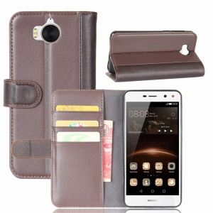 Genuine Split Leather Wallet Phone Case with Stand for Huawei Y5 (2017) / Y6 (2017) - Coffee