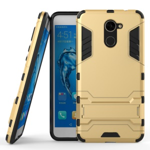Armor Plastic TPU Hybrid Phone Casing with Kickstand for Huawei Y7 Prime / Enjoy 7 Plus - Gold