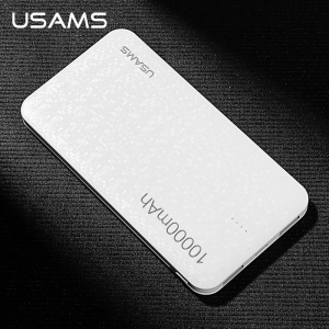 USAMS US-CD21 10000mAh Mosaic Series Dual USB External Power Bank - White