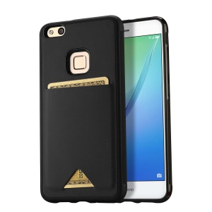 DUX DUCIS Pocard Series Card Slot PU Leather Skin TPU Back Cover for Huawei P10 Lite - Black