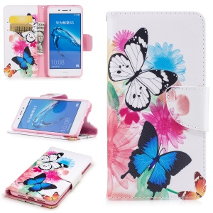 Pattern Printing PU Leather Wallet Protective Mobile Phone Casing with Stand for Huawei Enjoy 6s / Honor 6c - Butterfly and sunflower