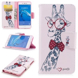 Pattern Printing PU Leather Wallet Phone Casing with Stand for Huawei  Honor 6c - Giraffe