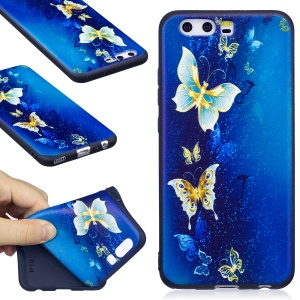 Embossing Matte TPU Cell Phone Cover for Huawei P10 -  Blue Butterflies