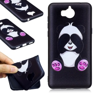 Embossing Pattern Matte Soft TPU Case for Huawei Y5 (2017) / Y6 (2017) - Lovely Panda