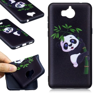 Embossing Pattern Matte TPU Mobile Phone Cover for Huawei Y5 (2017) / Y6 (2017) - Panda and Bamboo