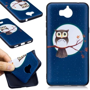 Embossing Pattern Matte TPU Cell Case for Huawei Y5 (2017) / Y6 (2017) - Moon and Owl