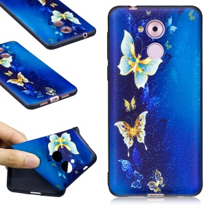 Embossed TPU Matte Back Mobile Casing for Huawei Honor 6C - Butterflies Blue Background