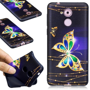 For Huawei Honor 6C Embossed Pattern Matte TPU Back Case - Gold Butterflies