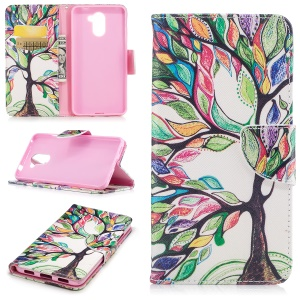 Pattern Printing Wallet Leather Stand Mobile Case for Huawei Y7 (2017) - Colorized Tree