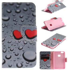Wallet Leather Stand Casing Cover for Huawei P10 Lite - Red Hearts