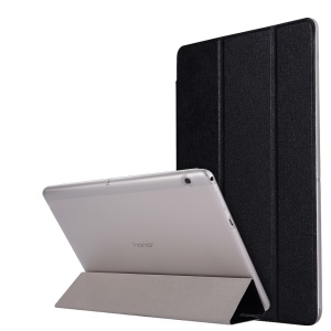 Silk Texture Tri-fold Leather Case with Stand for Huawei MediaPad T3 10 - Black
