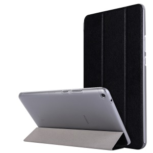 Silk Texture Tri-fold Stand Leather Case for Huawei MediaPad T3 8.0 - Black